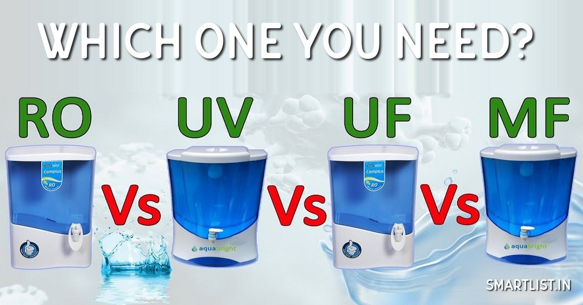 RO vs UF vs UF Water Purifiers: Which One is Best?